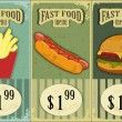Vintage fast food labels - the food on  grunge background - Stock Vector