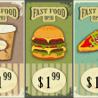 Vintage fast food labels - the food on grunge background — Stock Vector #8886587
