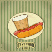 Vintage fast food menu - the food on grunge background — Stock Vector