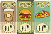 Vintage fast food labels - the food on grunge background — Stock Vector
