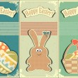 Stock Vector: Easter cards in vintage style - basket of Easter Eggs and Bunny