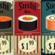 Vintage Sushi Labels - the food on grunge background — Stock Vector