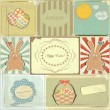 Easter cards in vintage style - basket of Easter Eggs and Bunny — Stockvectorbeeld
