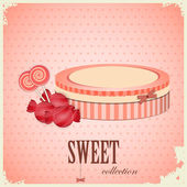 Vintage postcard - sweet candy on pink background — Stock Vector