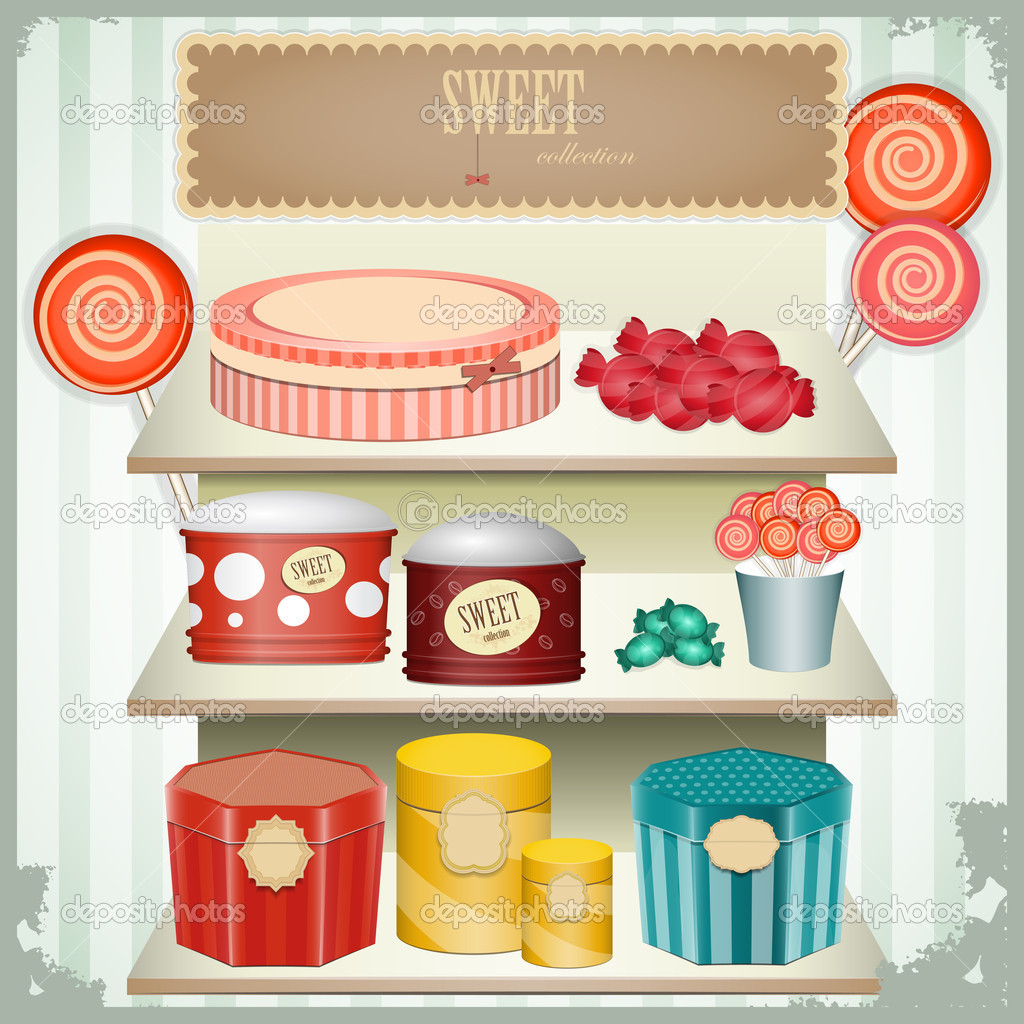 Vintage postcard - shop sweets, confectionery - vector illustration — Stock Vector #9004901