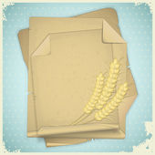 Grunge paper with ear of wheat on vintage background — Stock Vector