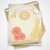 Grunge paper with ear of wheat and flowers - card in scrapbooki — Stock Vector