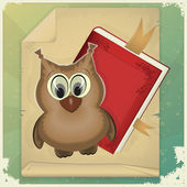 Wise owl and book on vintage background — Stock Vector