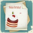 Vintage birthday card with Chocolate Cherry Cake and Old Paper — Stock Vector