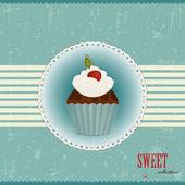 Pastel de chocolate con cereza — Vector de stock