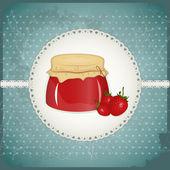 Alte Ansichtskarte - Erdbeer-Marmelade — Stockvektor