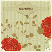Vintage card with flower and place for text - scrapbook style — Stock Vector