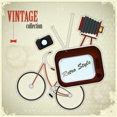 Retro poster - vintage stuff on grunge background — Stock Vector