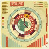 Infographics vintage elementen - werk tijd concept — Stockvector