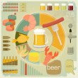 Vintage Infographics set - Beer icons, Snack - Stock Vector
