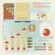 Vintage infographics set - house construction — Stock Vector