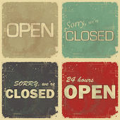 Set of signs: open - closed - 24 hours — Stockvektor