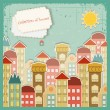 Collection of houses on vintage background — Stock Vector #9765001