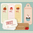 Stok Vektör: Vintage Dessert menu - set of labels