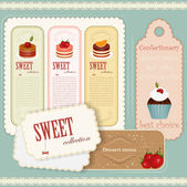Vintage Dessert menu - set of labels — Stok Vektör