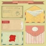Vintage post set - Retro envelopes and postcards — Stock Vector