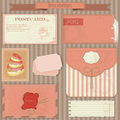 Vintage post set - Retro envelopes and postcards — Stock Vector