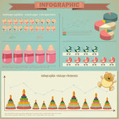 Vintage infographics set - demography icons and elements — Stock Vector