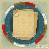 Ročník zodiak kruh — Stock vektor