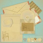 Vintage yazı seti - retro zarf ve kartpostal — Stok Vektör
