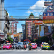 BANGKOK, THAILAND - August 23 : Traffic jam on Yaowarat road  on — Stock Photo