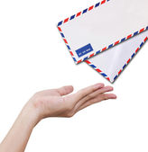 Hands receiving letter — Stock Photo