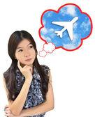 Women thinking about the travel — Zdjęcie stockowe