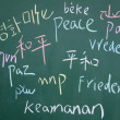 Stock Photo: Peace symbol written with chalk on blackboard