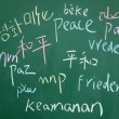 Peace symbol written with chalk on blackboard - Stock Photo