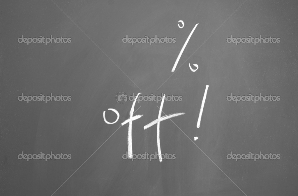 Discount Percentage written with chalk on blackboard — Stock Photo #8965142