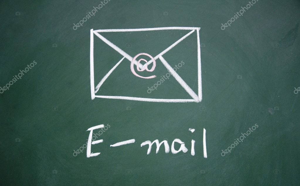 E-mail  symbol drawn with chalk on blackboard — Stock Photo #8966391