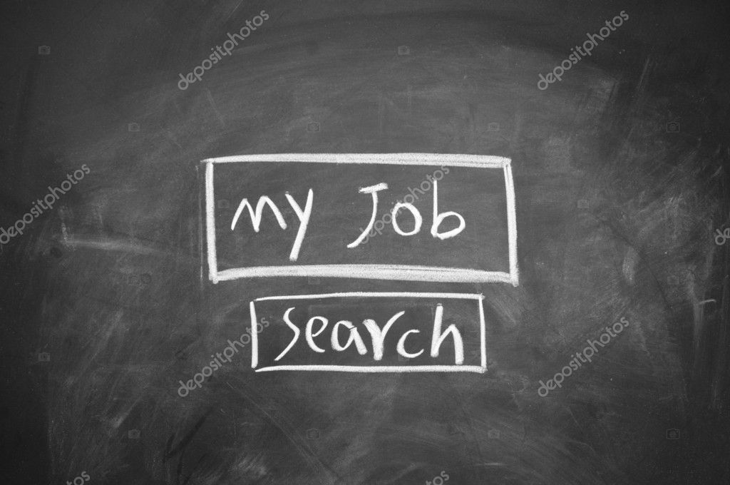 Search job symbol drawn with chalk on blackboard — Stock Photo #9633717