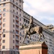 Moscow Monument to Marshal Zhukov and hotel Moscow 2011 — Stock Photo
