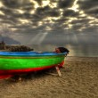Atrani boat in beach during a strom HDR — Stock Photo #9451312
