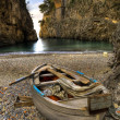 Fiord of Furore, Amalfi coast, Italy  boat in beach — Stock Photo