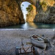 Fiord of Furore (SA) Italy  boat in beach — Stock Photo