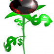 Rose from leaves in form of brilliant dollar — Stock Photo #10055663