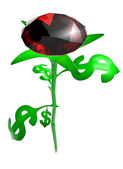 Rose from leaves in the form of brilliant dollar — Stock Photo