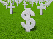 Currency symbol in the form of gravestones — Stock Photo