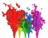 Abstract bursts of colored liquid on a white background — Stock Photo