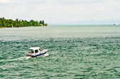 Bodensee, Germany, boat and view to the Alpes — Stock Photo
