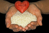Rice with heart — Stock Photo