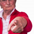 Angry grandmother point at - Stock Photo