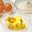 Stock Photo: Baking ingredients,egg, margarine and flour