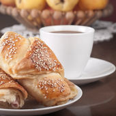 Coffee milk and croissant — Stock Photo